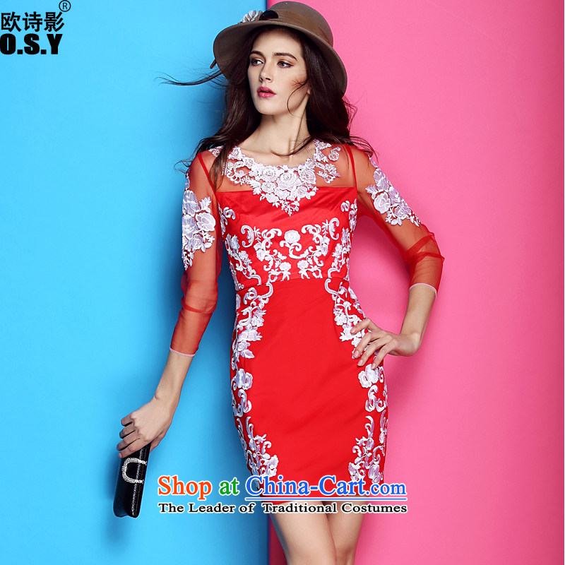 The OSCE Poetry Film 2015 Fall/Winter Collections new women's binding bead embroidery and look Sau San package the skirt of her dress and short on red under a drink red?XL