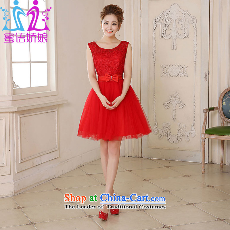 Talk to her?new bride 2015 Wedding Dress Short, red lace shoulders bows service short skirts spring and summer small red dress?XL