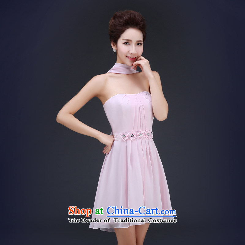 Jie mija wedding dresses Summer 2015 new Korean bridesmaid to Sau San large service bridal dresses short of toasting champagne evening dresses summer bare pink?M
