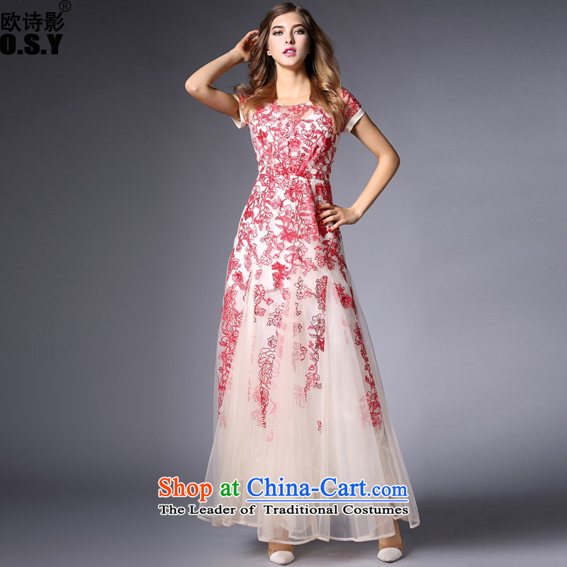 The OSCE Poetry Film female new Western big elegance gauze embroidered dress suit large long skirt wedding dress uniform evening drink wedding red?L