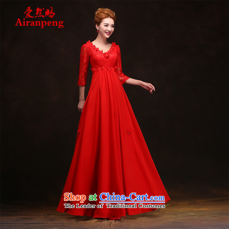 Love So Peng new bride red 2015 Spring wedding dresses dress long high waist back to the door of the bows services for pregnant women short long?XXXL need to do not support returning