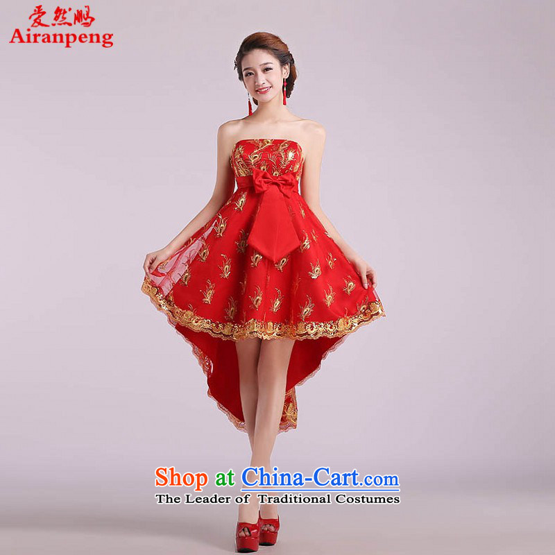 Love So Peng bows services shoulder short of 2015 pregnant women for larger tail marriages red wedding dresses evening dresses spring Kim Bong-long after the end of the short?XXL need to do not support returning