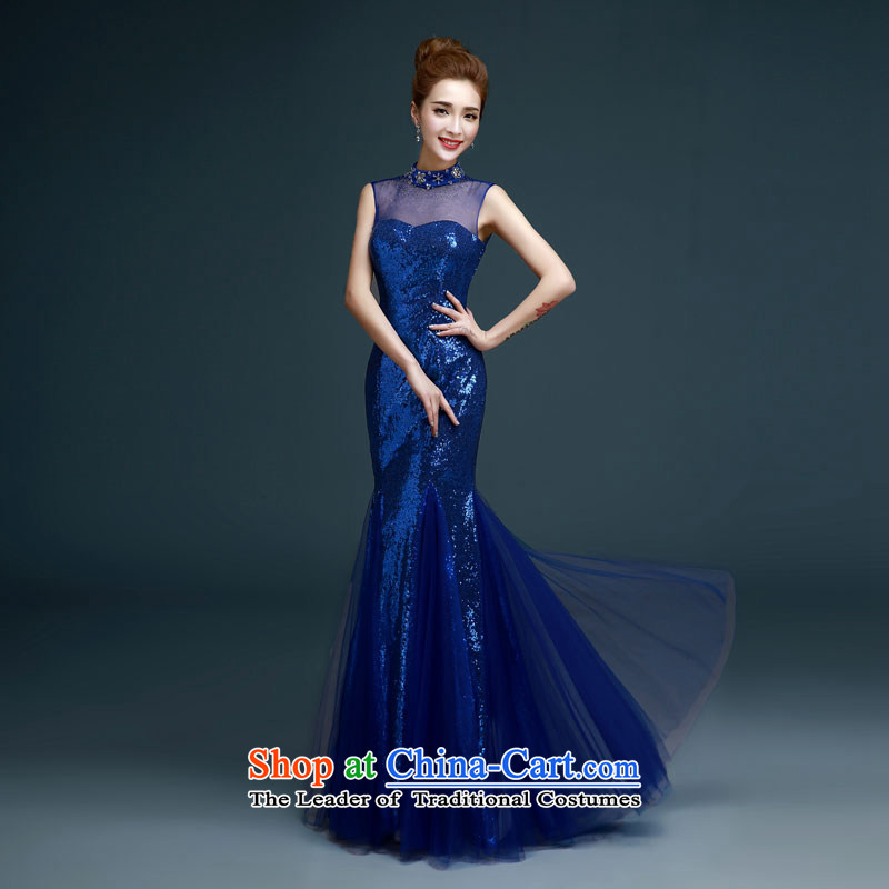 Evening dress new luxury on 2015 chip elegant sexy crowsfoot dress annual meeting of persons chairing the banquet bride will serve wedding dress women bows blue?L
