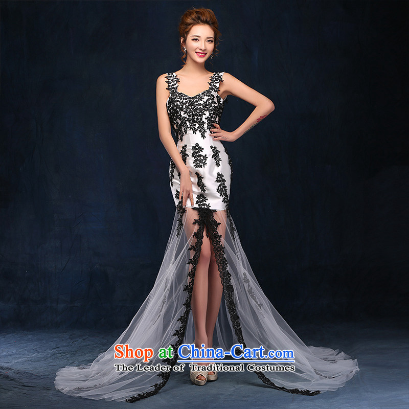 The new photo building theme clothing sexy crowsfoot lace back luxury photo album stage Sau San performances dress photo color?XL