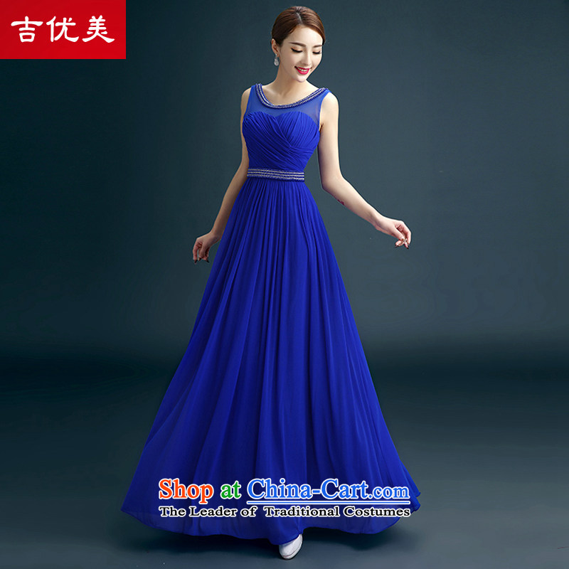 The new 2015 evening dresses luxuriant elegance and sexy shoulders dress banquet moderator will drink service wedding dresses bride blue?S