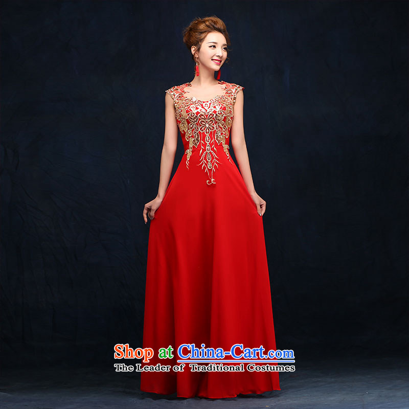 According to Lin Sa 2015 bride bows services red crowsfoot marriage wedding dresses Sau San long marriage banquet evening dresses red?L