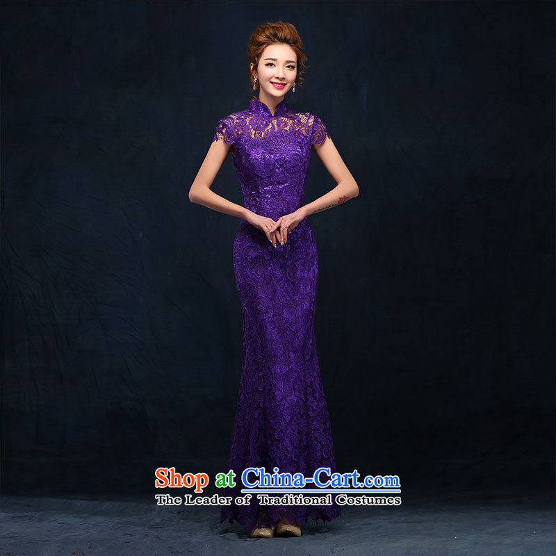 According to Lin Sha marriages bows to stylish purple jackets long Sau San crowsfoot collar marriage lace evening dress Long Purple XL