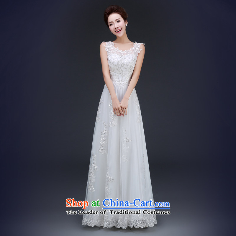 Jie Mia�White Spring and Autumn 2015 new shoulders dress video thin bows Service Bridal party will marry Sau San long�XS
