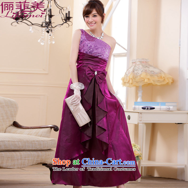2015 European and American big version on-chip shoulder temperament Top Loin of Sau San Fat mm maximum code evening dinner show annual long dresses bridal dresses?XXXL purple for 160-180 catty