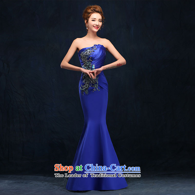 According to Lin Sha evening dresses 2015 new long service bridal dresses bows and chest silk stylish crowsfoot marriage blue dress Blue?M