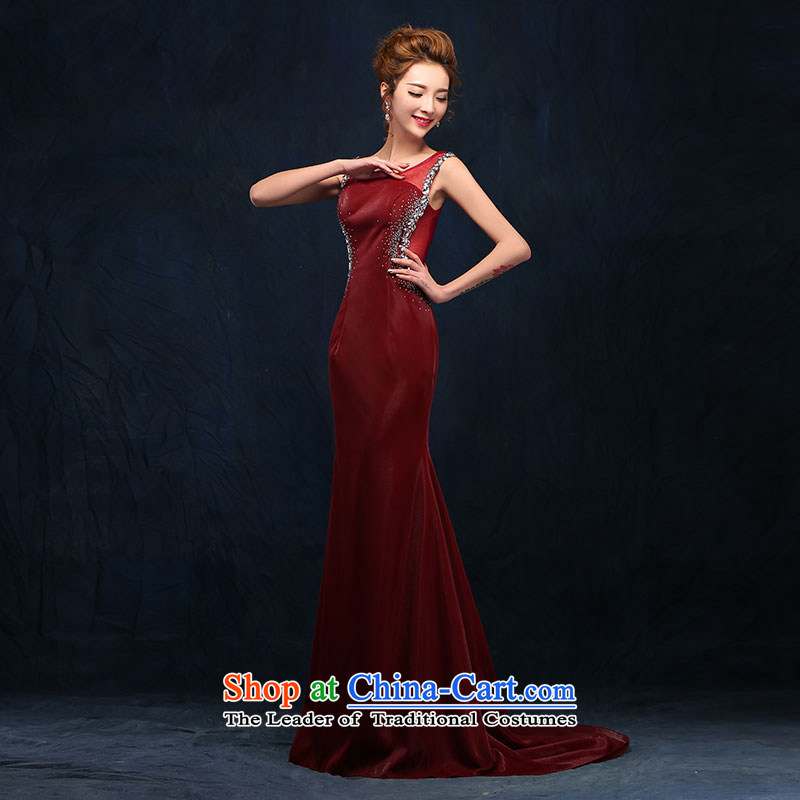 According to Lin Sha shoulders diamond bows service long marriages banquet wine red dress uniform dress Sau San bows wine red?XL