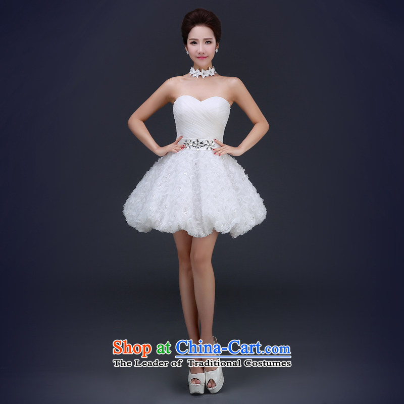 Jie Mia?White Spring and Autumn 2015 new shoulders dress video thin bows Service Bridal Sau San will show bridesmaid dress White?XL