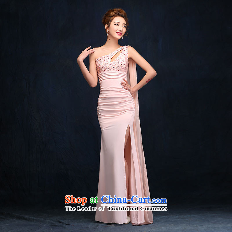 According to Lin Sha pink banquet nightclubs evening dress single shoulder length of the annual meeting of the persons chairing the company dress package and evening dresses pink?L