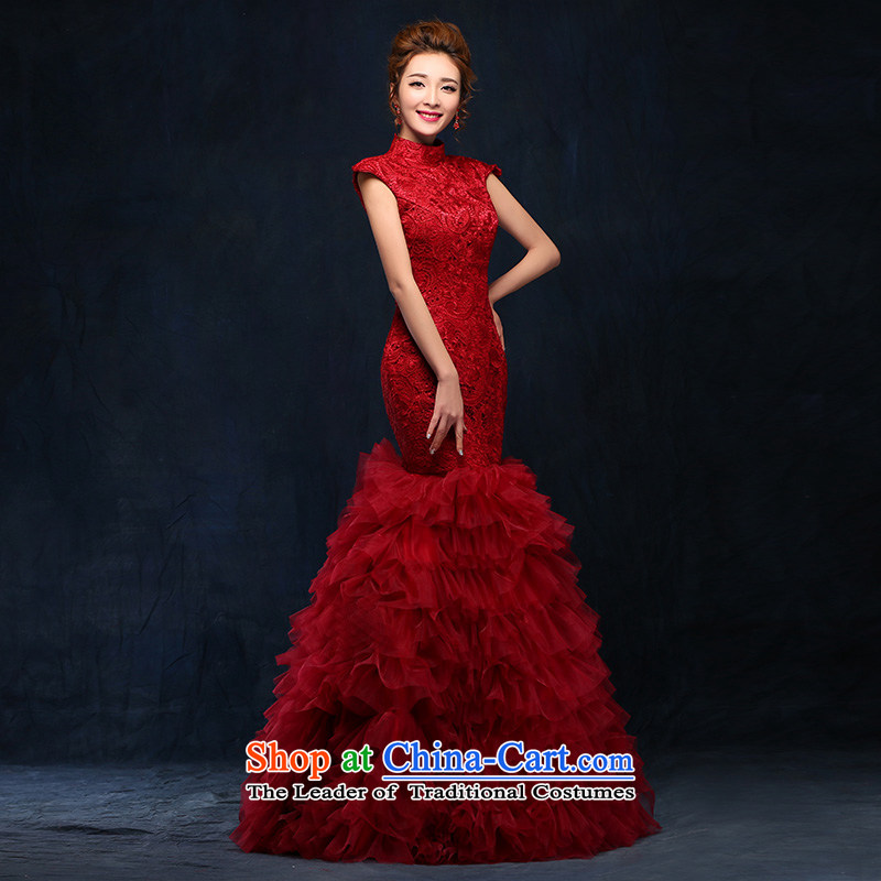 According to Lin Sha bows services 2015 new wine red dress long marriages video thin straps Sau San crowsfoot services will wine red band)