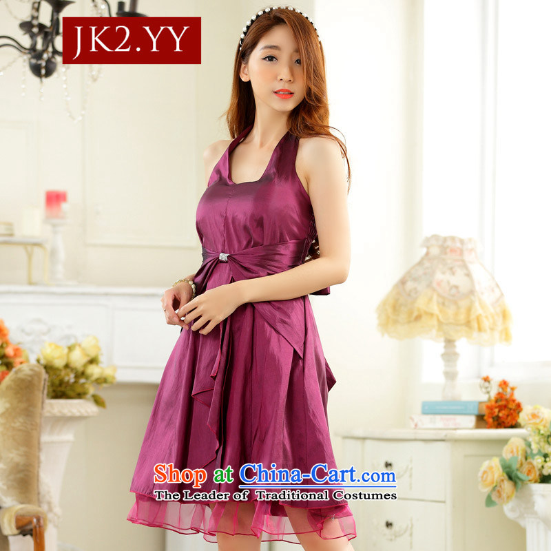 ?The Korean version of JK2 stylish and simple thin waist straps in history skirt dinner small dress dresses aubergine?XXL