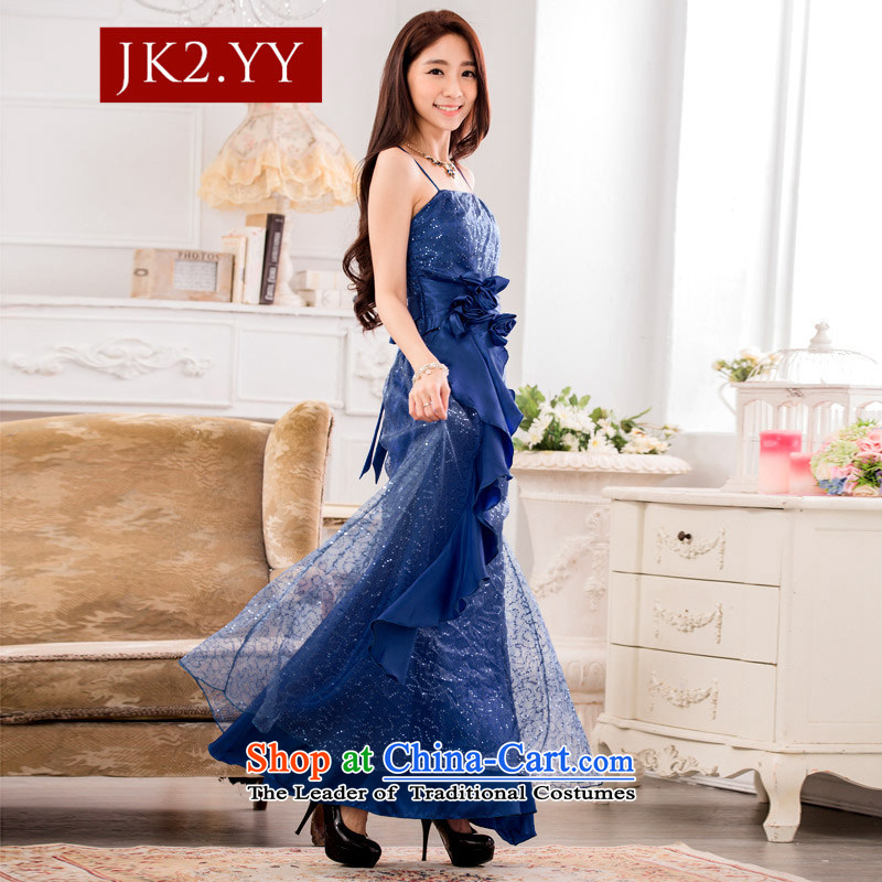 ?The Korean version of the stylish JK2 super star on chip evening dresses show service long large blue?XXXL dress