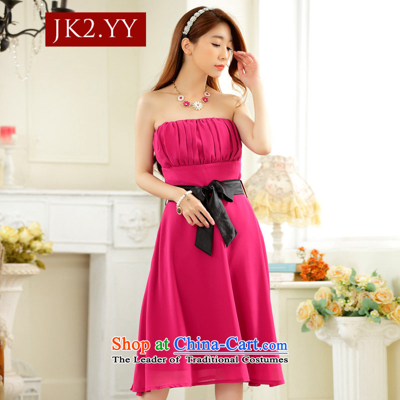 ?The Korean version of JK2 minimalist style with large collision color chest belt chiffon dinner show dress dresses in red are code