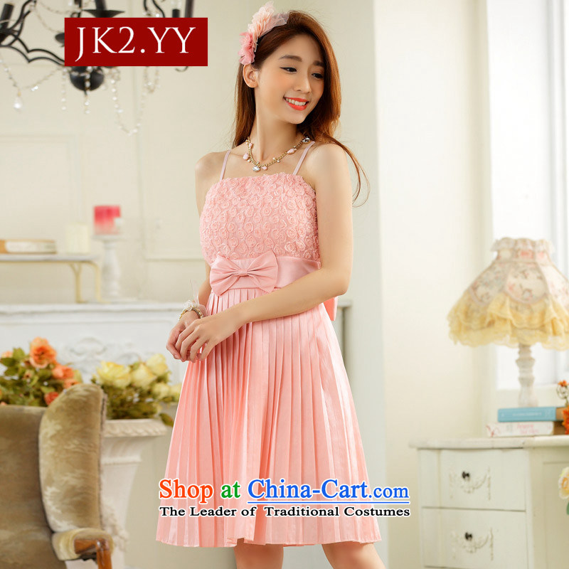 ?Stylish sweet nectar JK2 boudoir private web yarn pressure folds bare shoulders evening dresses and sisters skirt dress pink dresses?XL