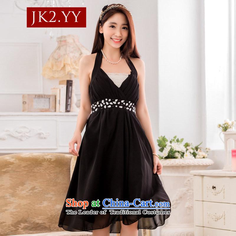 Jk2sexy V-neck a bright pearl of staple manually drill chiffon evening dress small dress dresses BlackXL