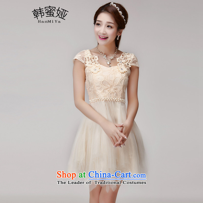 Claudia 2015 Summer honey won hook wire manually set drill blossoms gemstone aristocratic princess elastic waist dresses dress DR10153 apricot are code