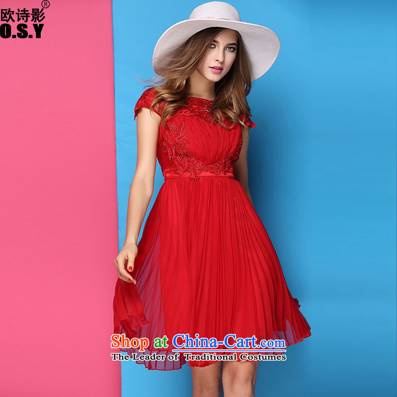 The OSCE Poetry Film in spring and summer 2015 new engraving embroidered luxury nails like Susy Nagle Pearl dress skirt noble aristocratic temperament Sau San Silk Dresses Female Red?L