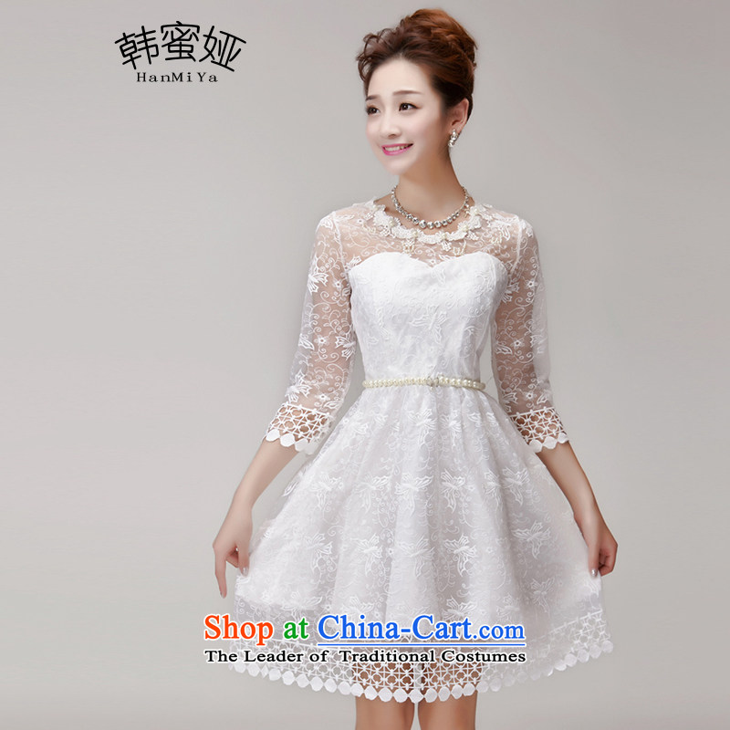 Korea 2015 Summer nails Tarja Halonen honey-ju princess skirt dresses Sau San champagne color and chest bridesmaid services sister skirt small dress code are white DR9963