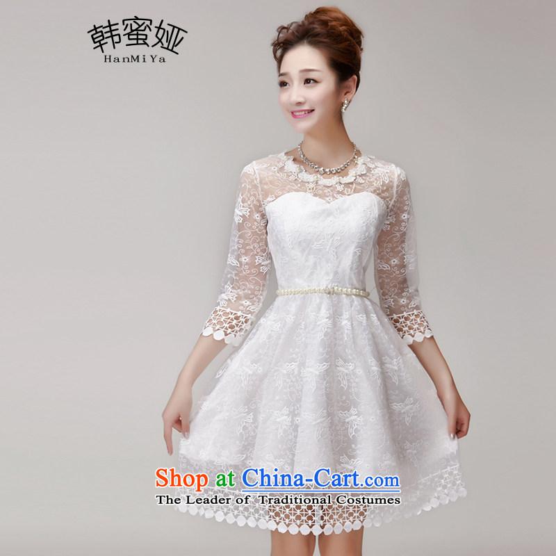 Korea 2015 Summer nails Tarja Halonen honey-ju princess skirt dresses Sau San champagne color and chest bridesmaid services sister skirt small dress code are white DR9963