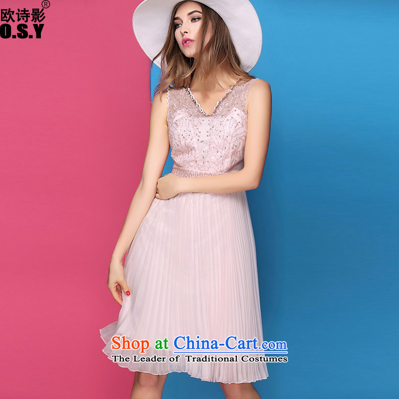The OSCE Poetry Film 2015 Fall/Winter Collections New Silk nail pearl V-Neck Sau San embroidered dress sense of high-end dress skirt pale pink?S