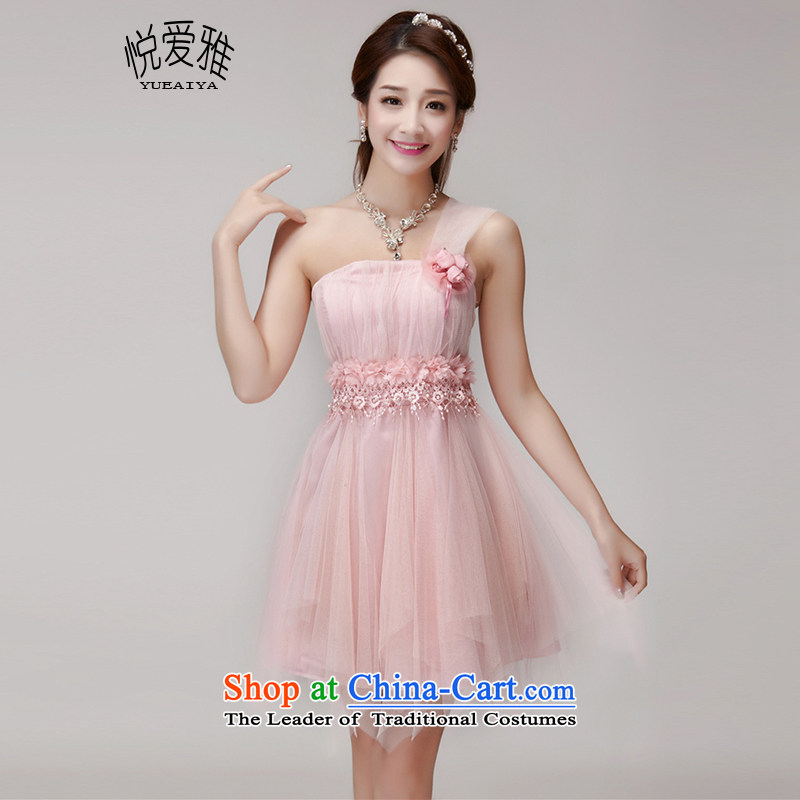 The Hyatt Regency Love Nga bridesmaid services 2015 new bridesmaid mission banquet dinner dress short skirts, small sister dress summer DR9553 pink are code