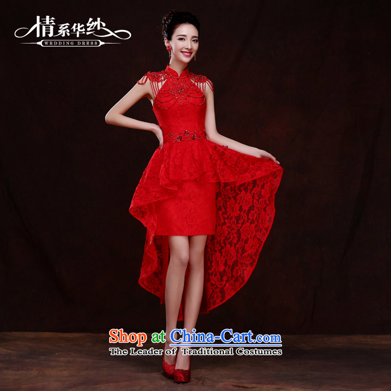 Qing Hua?2015 new bride yarn bows to the skirt marriage wedding dresses long red stylish evening dress autumn and winter female red?s