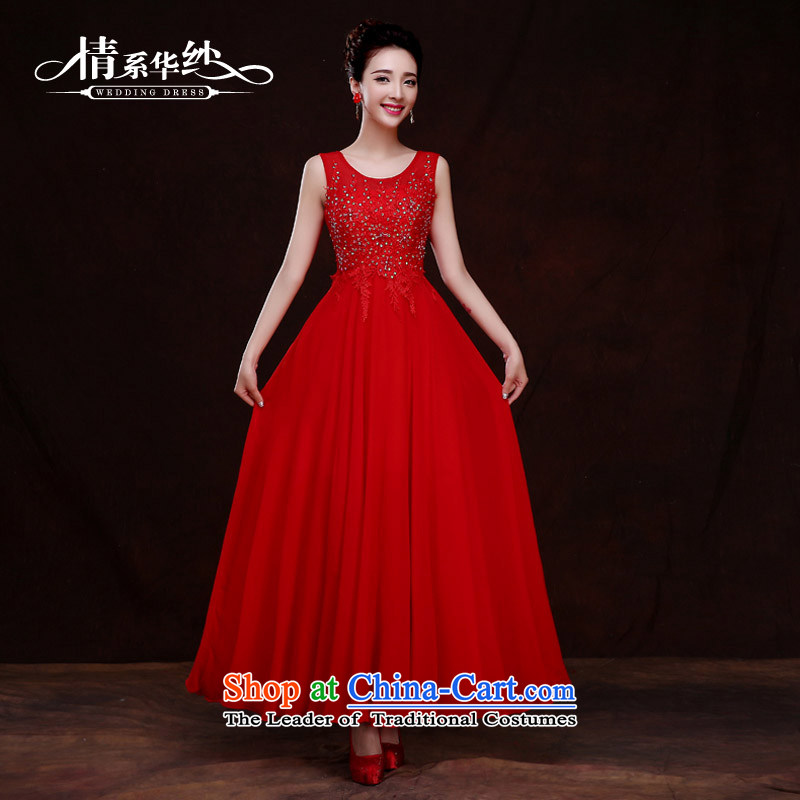 The feelings of Chinese?New Year 2015 Uganda Red long marriages wedding dresses evening dresses female bows services bridesmaid services during spring and summer, red?s