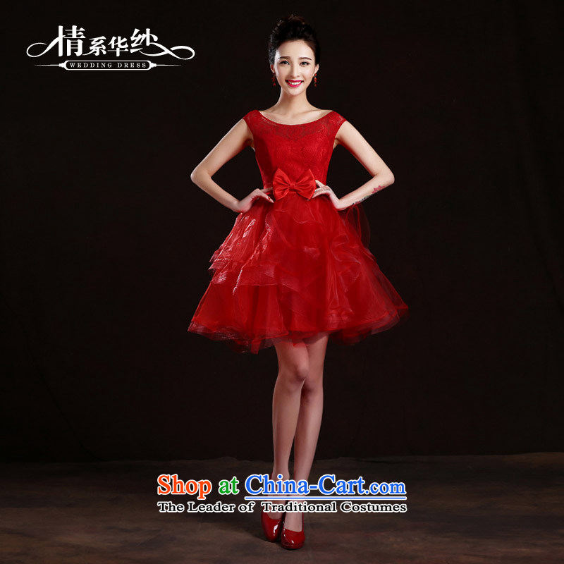The feelings of Chinese�New Year 2015 won by the Word version of wedding dresses shoulder short bride bows bridesmaid services services bon bon spring and summer evening dress red�s