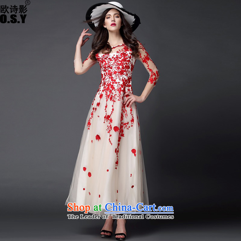 The OSCE Poetry Film 2015 autumn and winter new Western big gauze stitching heavy industry staples bead embroidered dress dresses Sau San Long skirts RED?M
