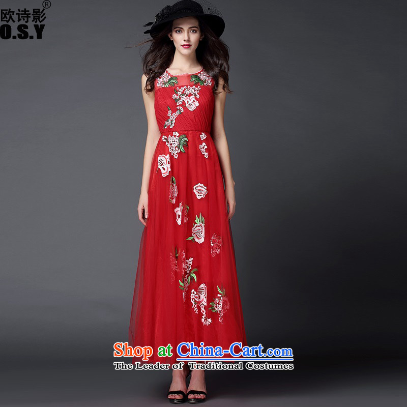 The OSCE Poetry Film 2015 new women's flower embroidery drill length of nail red wedding dress evening banquet bridesmaid bride long skirt annual spring services bows red聽L