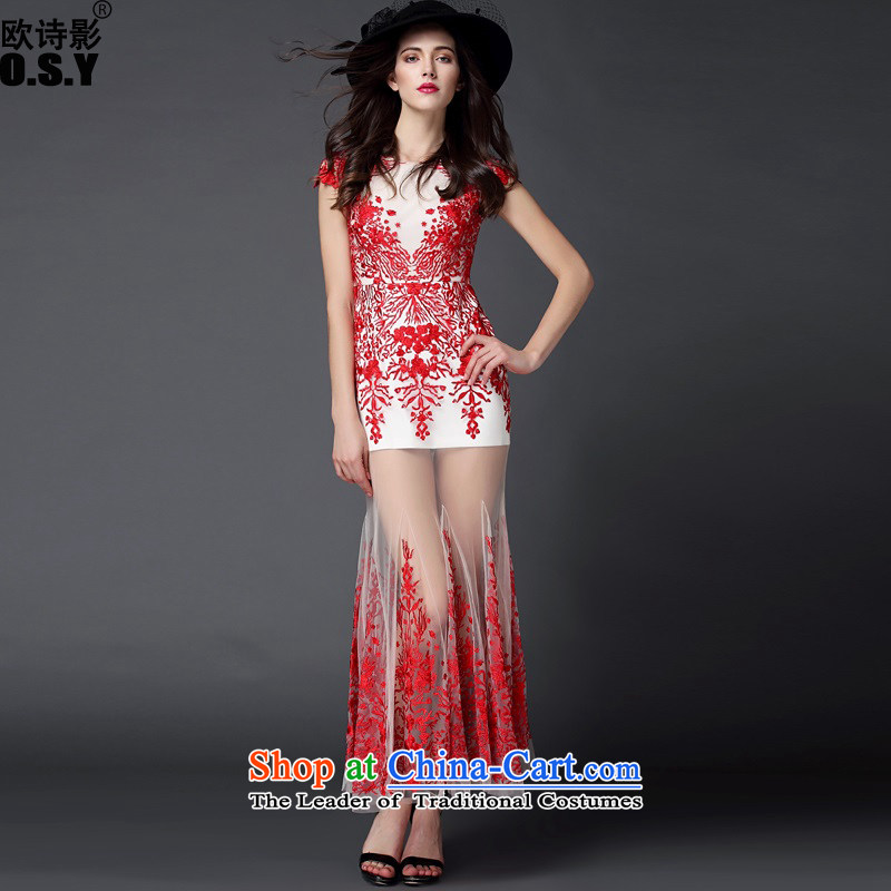 The OSCE Poetry Film 2015 new women's big western dress dresses long crowsfoot Sau San marriage wedding dresses large short-sleeved long skirt RED?M