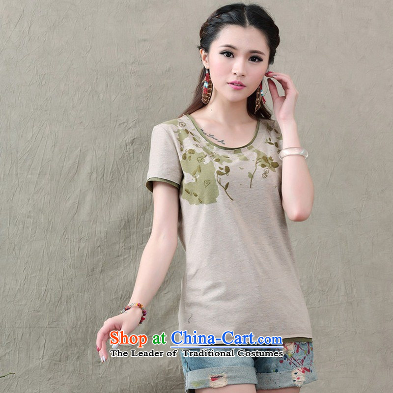 Women's Summer new literary and artistic temperament stamp pure cotton short-sleeved T-shirt with round collar female clothes 738 gray�S
