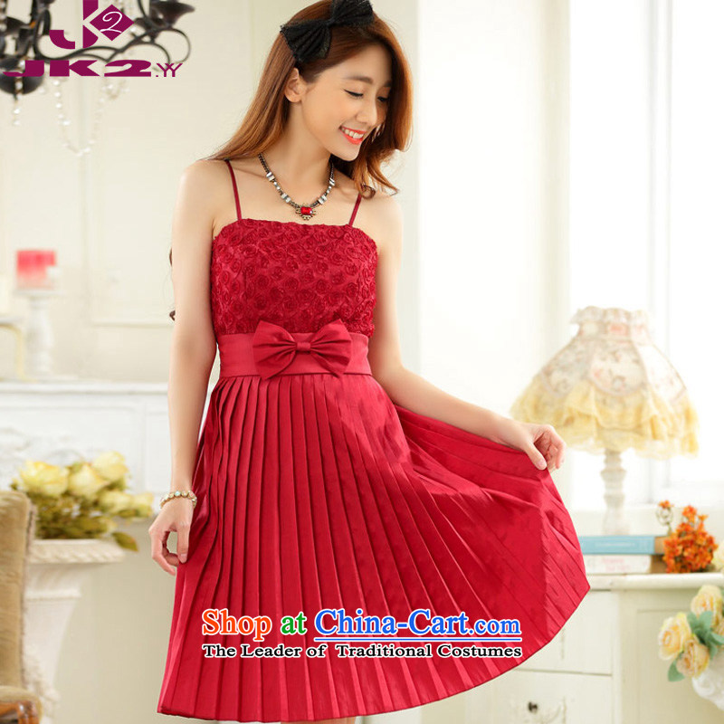 2015 Korean slips annual gathering gauze like Susy Nagle bare shoulders evening dresses and sisters skirt Show Top Loin video thin thick MM larger dresses?XXXL red 155-175 for a catty