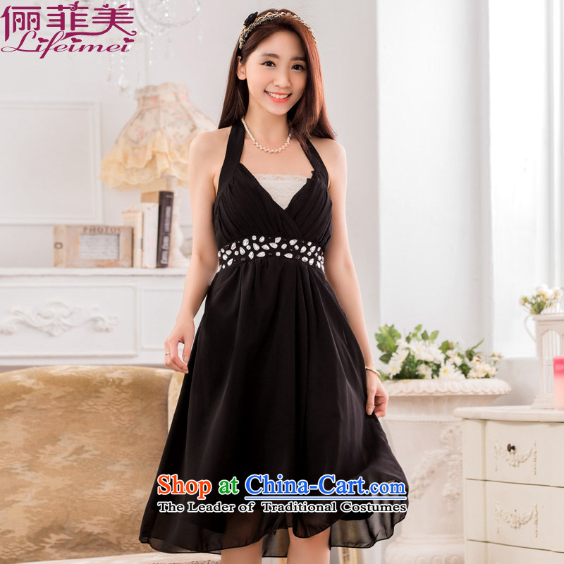 158 and sexy V-neck a bright pearl of staple manually drill upscale chiffon evening thick mm video skinny dress dresses black XXL 135-155 for a catty