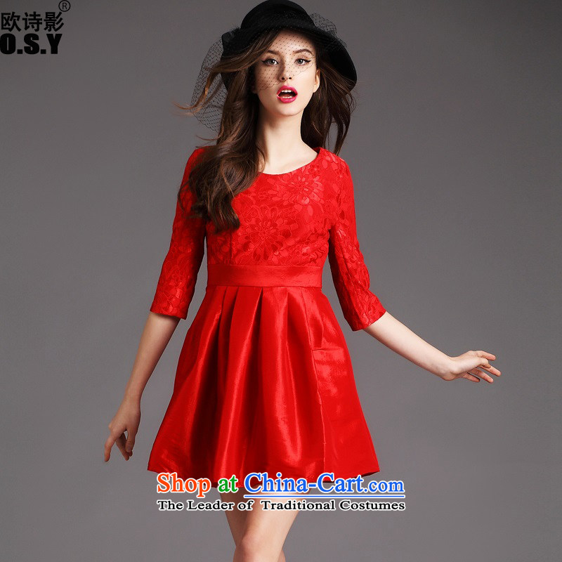 The OSCE Poetry Film 2015 autumn and winter in new cuff dresses Lace Embroidery stitching bon bon dress skirt bows services under the auspices of the lift mast mount married women A skirt red?XL