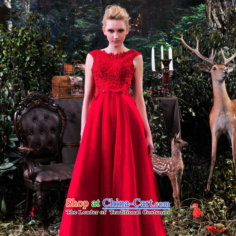 Full Chamber Fong MTF marriages bows services evening dresses 2015 Spring bridesmaid services red long L881 elegant red tailored