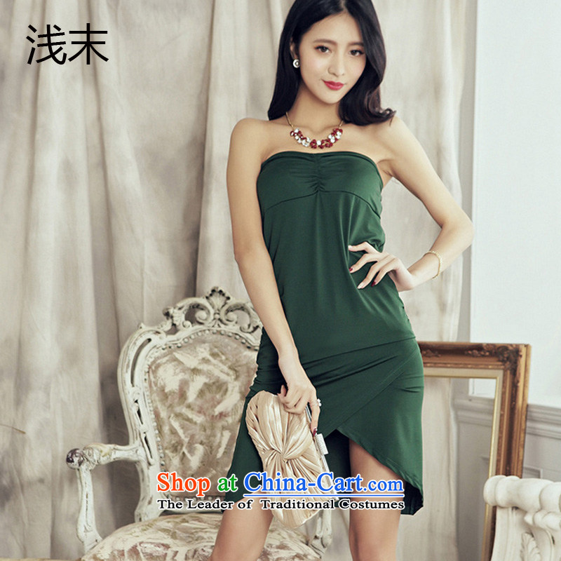 The end of the light _MO_ Europe QIAN evening and wrinkle breast cross sexy ocean refitting the skirt evening dress 486 green?XL