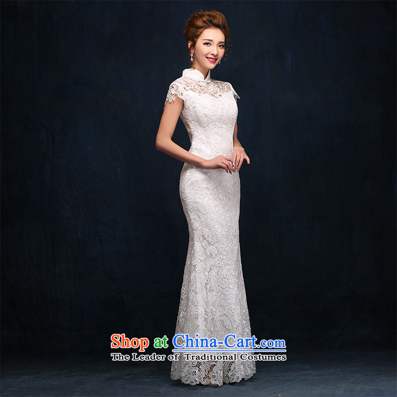According to Lin Sha evening dresses 2015 New Chinese cheongsam dress white bridesmaid to Sau San long years banquet dinner dress white�L