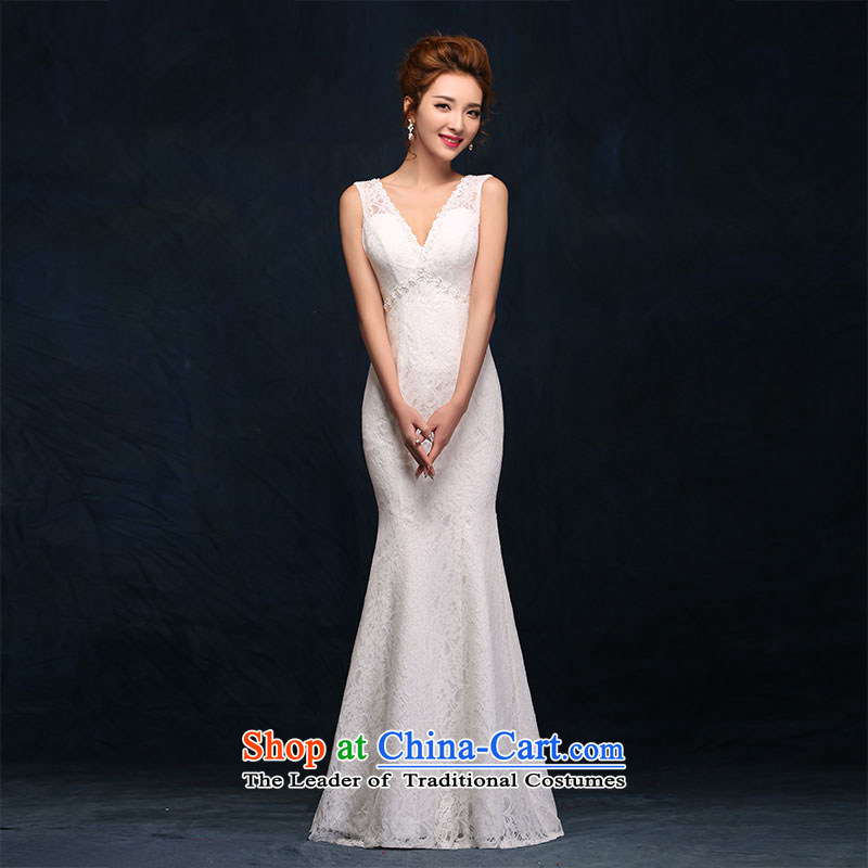 According to Lin Sha shoulders V-Neck wedding dress lace new sexy back crowsfoot bride wedding white video thin dress Sau San White M