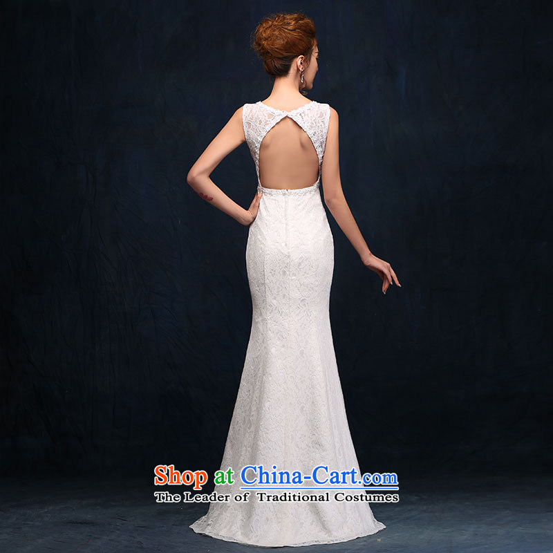 According to Lin Sha shoulders V-Neck wedding dress lace new sexy back crowsfoot bride wedding white video thin dress Sau San White聽M according to Lin Sha , , , shopping on the Internet