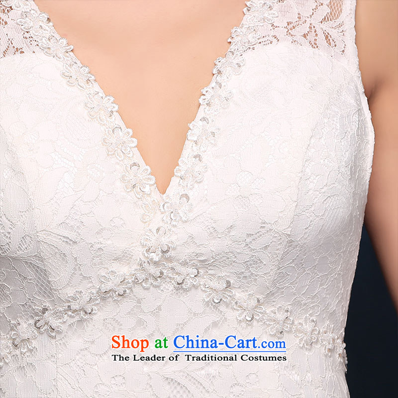 According to Lin Sha shoulders V-Neck wedding dress lace new sexy back crowsfoot bride wedding white video thin dress Sau San White M according to Lin Sha , , , shopping on the Internet