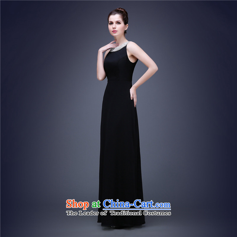 (Heung-lun's Health 2015 Spring/Summer new black hang also long sexy dress dinner banquet annual car show show stage show black�XXL