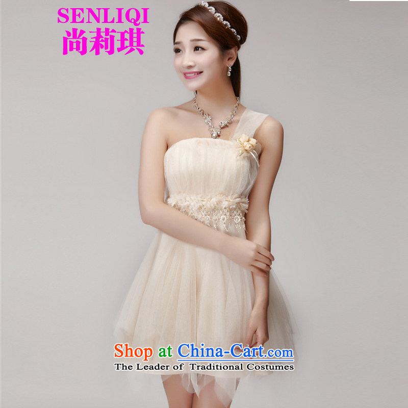 There is a new summer 2015 Liqi stylish bridesmaid mission dress evening dress sister skirts banquet short of small dress bridesmaid services 955 apricot M
