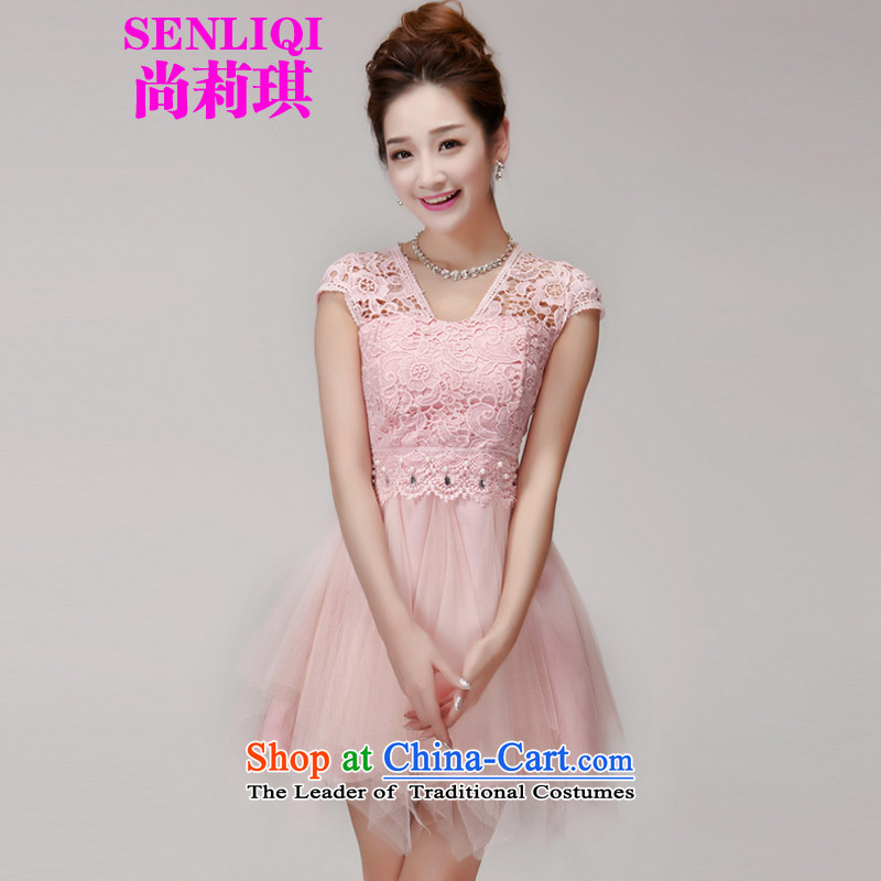Yet Liqi?2015 Summer new lace spent manually staple pearl hook Aristocratic women's dresses bon bon skirt temperament dress skirt women 965 pink?L
