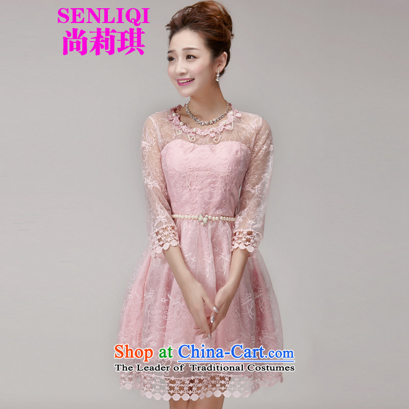 Yet Liqi 2015 Summer new staple Pearl Princess skirt dresses Sau San champagne color and chest bridesmaid services sister skirt small dress girls 996 pink M