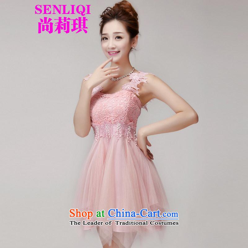 There is a?new summer 2015 Liqi stylish lace hook flowers Sau San manually staple bead Aristocratic women's dresses bon bon skirt temperament dress skirt 965 pink?L